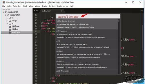 sublime text 3文件路径没有提示的设置方法