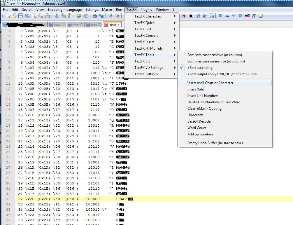notepad++插入时间和调用ASCII码表的方法